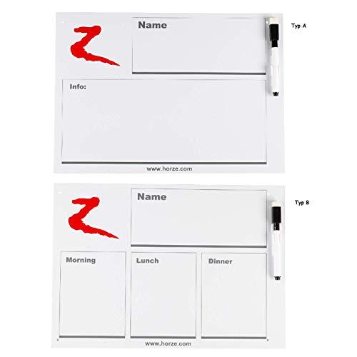 NETPROSHOP stalbord whiteboard voederbord tijdschema infotobordje met pen en houder, Typ B