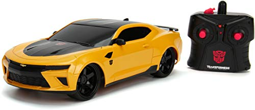 Jada Toys Transformers The Last Knight Bumblebee 2016 Chevy Camaro RC Car, 1:16 Scale Remote Control Vehicle, Yellow & Black (30332)