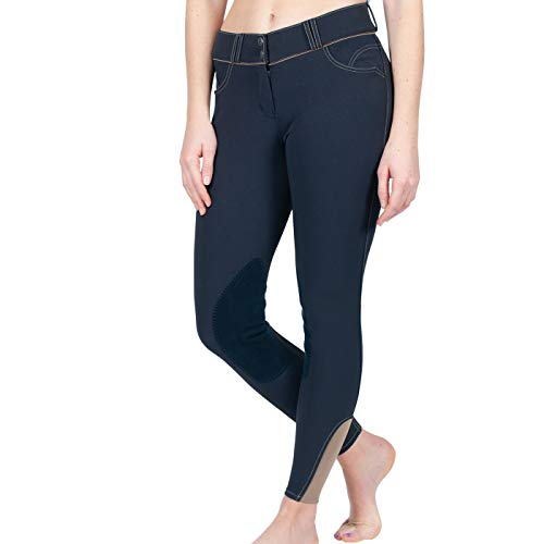 ELATION EuroSeat Breeches, Platinum Brooklyn Riding Breeches for Women, Thick Elastic High Waist w/Contrast Piping & Leather Knee Patch –Ladies Equestrian Riding Pants & Horse Show Breech (Navy, 28R)