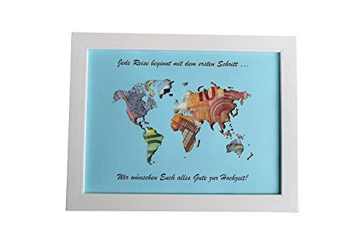 Geldgeschenk mit Ihrem Text auf der Weltkarte MIT Bilderrahmen