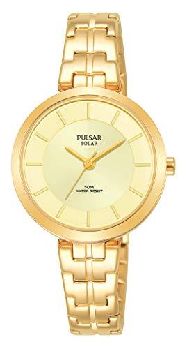 Pulsar dames analoog zonne-horloge met roestvrij stalen armband PY5062X1