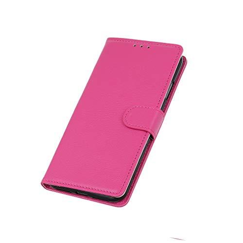 HAOTIAN Hülle für Xiaomi Poco F2 Pro 5G Hülle, Flip Wallet Hülle Cover, [Flip Stand/Kartensteckplatz] Anti-Rutsch Leder PU Handyhülle Schutzhülle mit Magnet/Geldbörse/Halter, Rosa