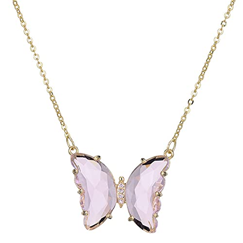 CHXISHOP Collar con colgante de mariposa de cristal y cadena de clavícula corta, rosa