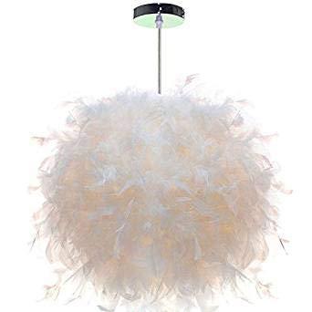 Design Pendelleuchte Weiß Federn Hängelampe Ø30cm mit E27 Lampenfassung für Wohnzimmer Esszimmer Schlafzimmer, 40W