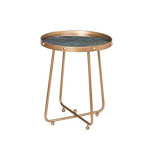 Jcnfa-bijzettafel Rond Metalen lade Accent Tafel, Gehard glas eindtafel, Cocktail bijzettafel, 19.68 * 19.68 * 23.03, groen/Goud