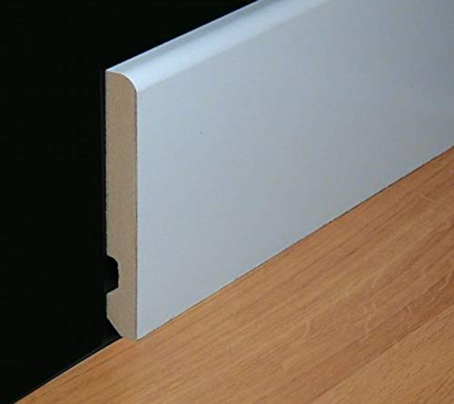 Rodapie lacado en blanco canto redondo de 9cm de altura x 1,4 cm de grosor x 244cm de largo