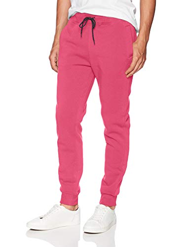WT02 Men's Basic Jogger Fleece Pants, Deep Pink, Large