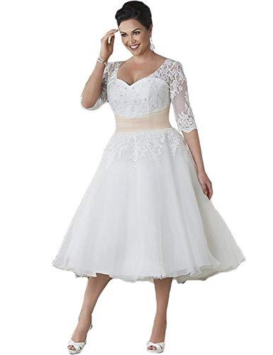 HUINI Brautkleider Damen Prinzessin Hochzeitskleider Spitzen Strand Brautmode Groß Größen Brautkleid Wandenlang mit Ärmel