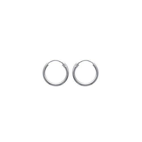 Pendientes de aro para hombre de plata 925/1000 rodiada, 16 mm