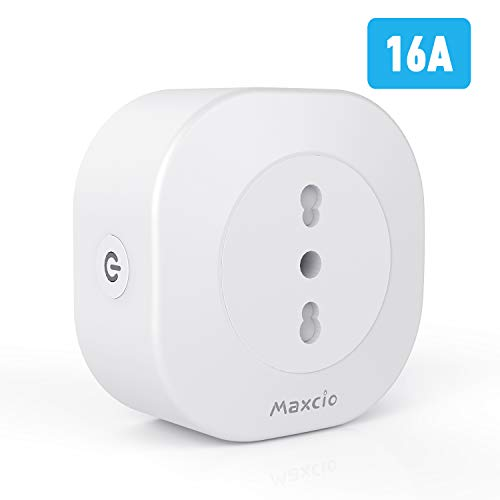 Maxcio Presa Intelligente WIFi, Alexa Smart Presa Italiana 16A Compatibile con Alexa Echo e Google Home, Controllo Vocale, Telecomando APP, Funzione Timer, Condivisione, Non Richiesto Hub (1 Pack)