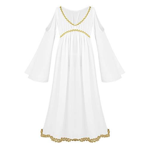 TiaoBug Mädchen Kleid Weihnachtsengel Kostüm Kleid Griechische Göttin Helena Kostüm Venus Göttinnen für Kinder Karneval Halloween Fasching Verkleidung Weiß 152-164/12-14 Jahre