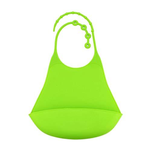 Babero de Silicona con Cómodo Bandeja Protector Hora de Comer para Adultos - Verde