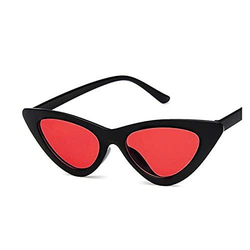LEYIS Gafas de Montar Gafas de Pesca Retro Vintage Gafas de Sol Vintage Cateye Gafas Sexy Pequeño Gato Ojo Gafas de Sol para Las Mujeres (Color : Black Red)