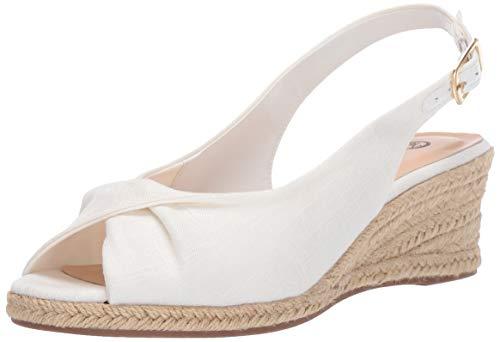 Bella Vita Women's Sylvie II Espadrille Sandal Shoe, White Linen, 5 M US
