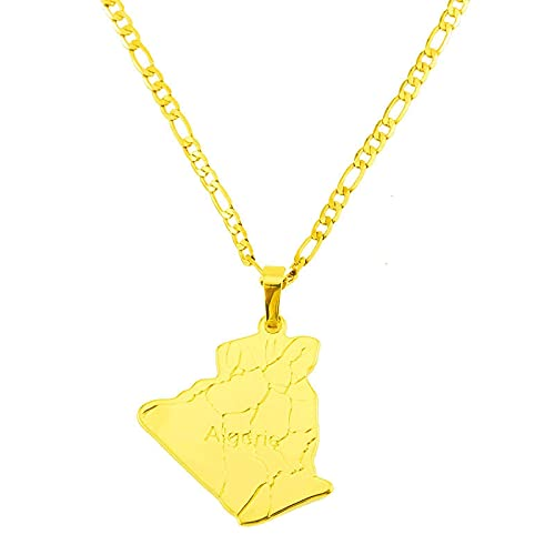 Collar de personalidad, collar de mapa de Argelia del país, colgante de color dorado, joyería de moda, mapa de Argelia, collares para hombres y mujeres
