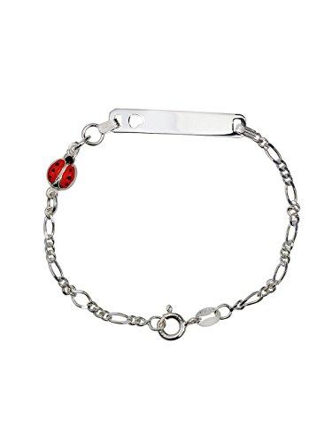 AKA Bijoux - Bracelet d'Identification Enfants Argent 925 avec Coccinelle, Cadeau Fantaisie Fille