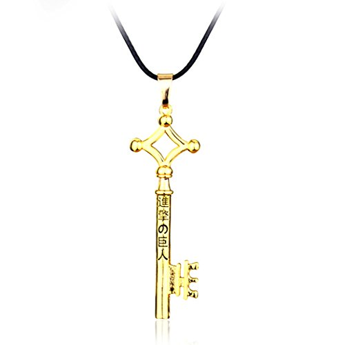 Attack on Titan Eren Jaeger Key Pendant Necklace Gold Metal Black Leather