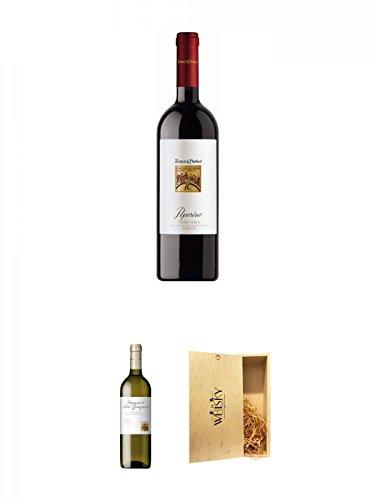 Teruzzi & Puthod Peperino Rossi Toscana IGT 0,75 Liter + Teruzzi & Puthod Vernaccia di San Gimignano DOCG 0,75 Liter + 1a Whisky Holzbox für 2 Flaschen mit Schiebedeckel