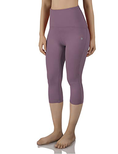 ODODOS Pantalones de Entrenamiento con Bolsillo Trasero de Cintura Alta con Malla, Control de Abdomen, Yoga, Gimnasio, Correr, Leggings, Pantalones de Yoga no Transparentes - Morado - Medium