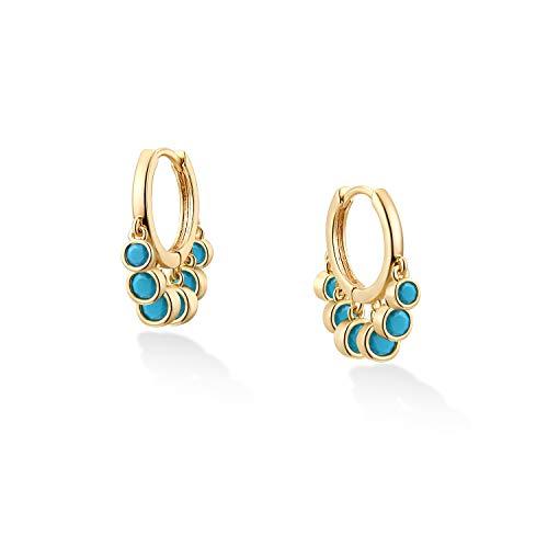 VACRONA Huggie Earrings for Women Girls 18k Gold Plated Turquoise Huggie Earrings Cute Cuff Earrings Gifts for Her Gold