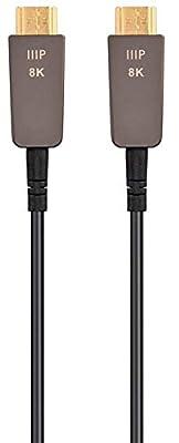 Monoprice Ultra High Speed HDMI Cable - 100 Feet - Black, 8K@120Hz, Dynamic HDR, 48Gbps, Fiber Optic, Earc, AOC, Ycbcr 4: - Slimrun AV Series