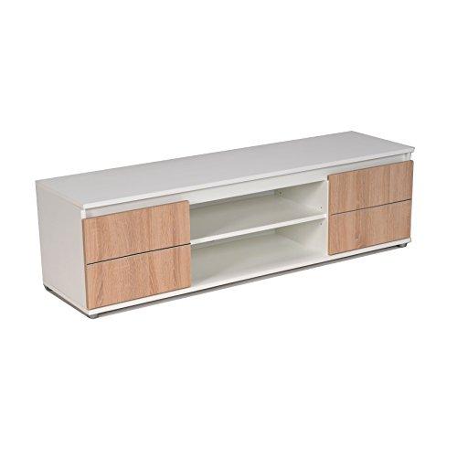 WEBER INDUSTRIES COMO Meuble TV, Blanc-Chêne, 140 x 38,2 x 40 cm