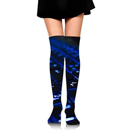 xinfub Girl Skirt Socks Uniform Lighting Blue Keyboard Women Tube Socks Compression Socks Comfortable1855