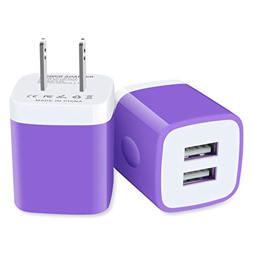 Charger Block, GiGreen 2.1A Dual Port USB Plug Cube 2-Pack Wall Charger Box Power Adapter Compatible iPhone 11 XS Max XR 8 7 6S Plus SE, iPad, Samsung A10e A20 A51 S20+ S10 Note 20 10, LG, Moto, Pixel