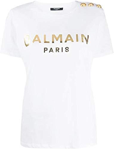 Balmain T-Shirt Luxury Damen Weiß Logo Gold SS 2020, Weiß Medium