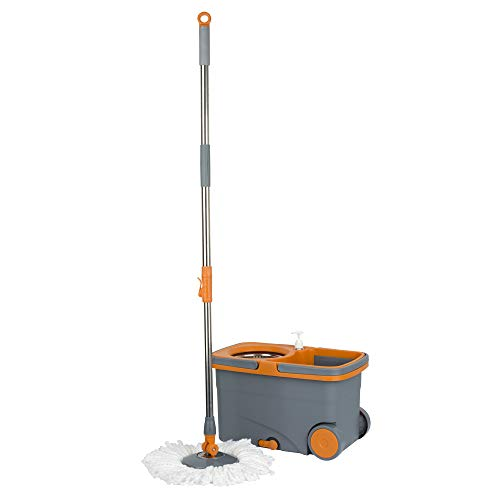 Casabella Microfiber Spin Mop and Bucket System with Replacement Head Refill, Graphite/Orange