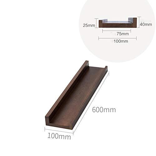Zwevende Planken, Houten Decoratieve, Zwevende Plank Tv-Componenten, Garage/Schuur/Magazijn/Vrijstaande Opslagplanken,Perzik Houten Plank-Walnoot_600 X 100 Mm