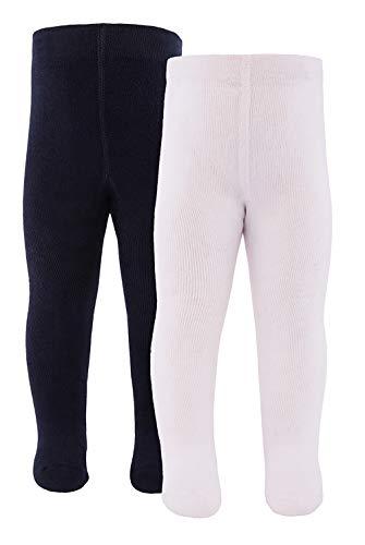 Ewers Baby- und Kinderstrumpfhose für Mädchen und Jungen 2er Pack, Made in Europe, Strumpfhose 98% Baumwolle Uni Basic Doppelpack,Weiß/Marine,98-104