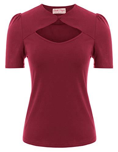 Belle Poque BP862 - Camiseta de manga corta para mujer, diseño vintage de los años 50, de algodón Bp862-4. S