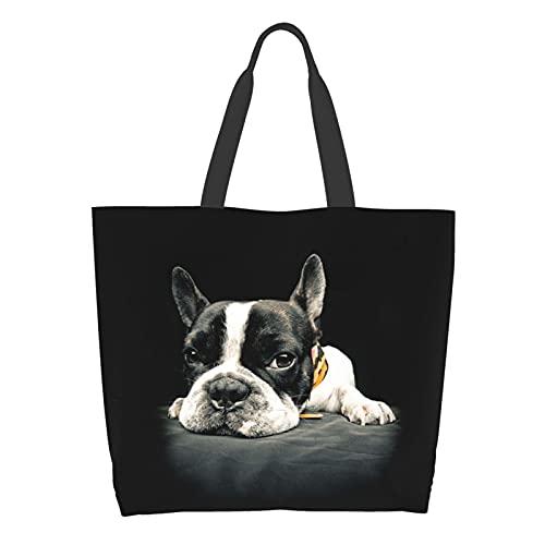Famame French Bulldog Dog Canvas Tote Bag Large Women Casual Shoulder Bag Handbag Reusable Multipurpose Shopping Grocery Bag For Outdoors