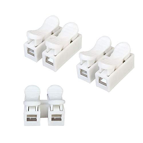 Aiqeer 100 Pezzi Connettore Molla Rapido, Morsetto a Molla Connettore, Morsettiera Molla Rapido, Collegamento per Cablaggio Elettrico e Alimentazione Illuminazione (Bianco)