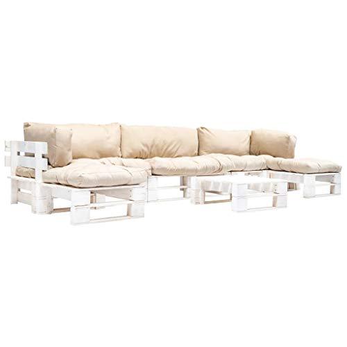 vidaXL Sofá de jardín de Madera, 6 Piezas. Cojín de Arena para Muebles de jardín, Muebles de palé, sofá esquinero, cojín para palés, sofá, Conjunto para Interior y Exterior