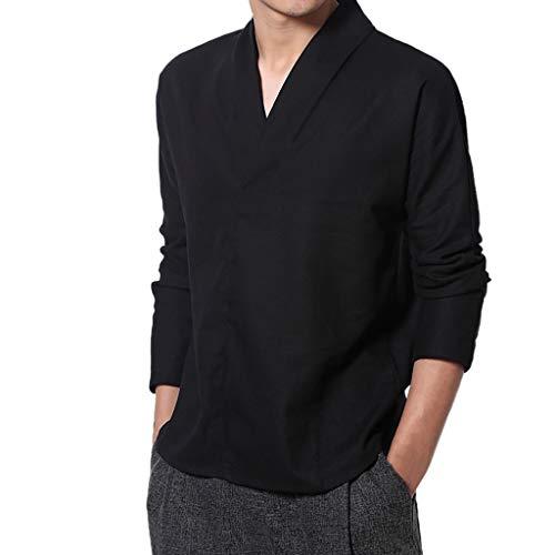 Daysing 2019 Neu Retro Chinesischer Shirt Tops Herren Männer Frühling Sommer s-5xl Ausstellung Kung Fu Baumwolle Leinen Chinesische Schnalle(Schwarz,Small (Gr:46)/-Tag M )