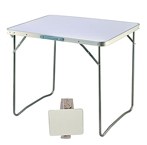 Portable Dining Table Folding Outdoor Picnic Table Party Garden BBQ Indoor Small Fold Up Desk Picnic Cooking Camping Table Load Capacity 15KG White,80x60x69cm