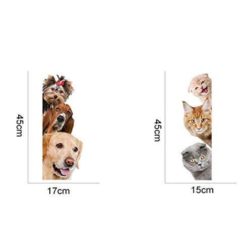 Gwill 2 Paket 3D Nette Hund Katze Wandaufkleber Schalter Aufkleber Wandbild Kunst Dekor Poster Hintergrundbild (A Style + B Style)