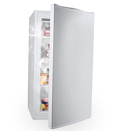 COOLLIFE Mini Freezer Only Countertop- Compact Reversible Single Door Table Top Mini Freezer - Free Standing portable small upright freezer Machine for Office (4.8 Cubic Feet, White)