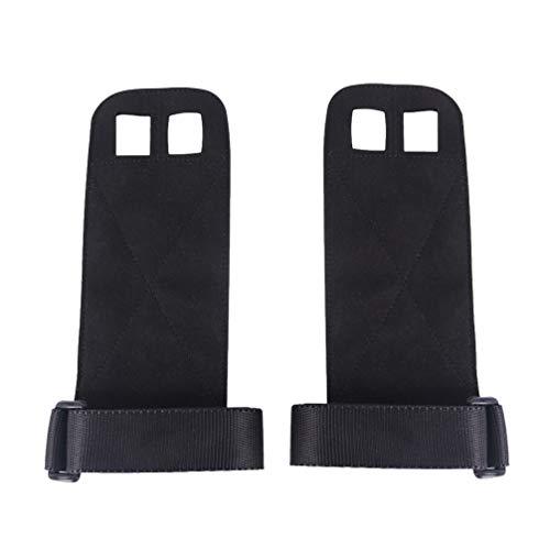 LIOOBO ein Paar Leder Fitness Handschuhe tragen Anti-rutschfeste Pflege Palmgeräte Armband Griffriemen Handgelenkstütze Hand Klammer für die Pull-up-Training Gewichtheben