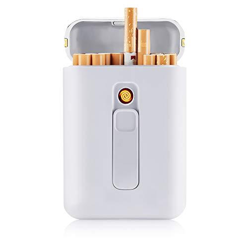 SANSH Zigarettenetui mit Feuerzeug, Zigarettenbox, für 20 Stück normale Zigaretten, tragbar, King-Size-Zigaretten, USB-Feuerzeug, wiederaufladbar, flammenlos, winddicht, elektrisches Feuerzeug, weiß