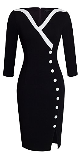 HOMEYEE Frauen Elegante V-Ausschnitt Big Button Hem Spalte schlanke Bodycon Casual Vintage Kleid B335(EU 38 = Size M,Schwarz)
