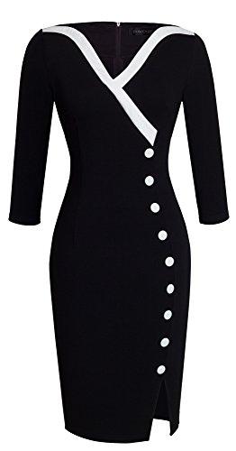 HOMEYEE Frauen Elegante V-Ausschnitt Big Button Hem Spalte schlanke Bodycon Casual Vintage Kleid B335(EU 36 = Size S,Schwarz)