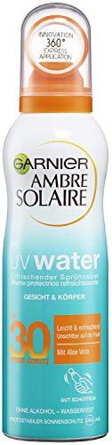 Garnier Ambre Solaire UV Water Erfrischender Sprühnebel mit LSF 30, kühlendes Sonnenschutz-Spray, transparent, feuchtigkeitsspendend, 200 ml