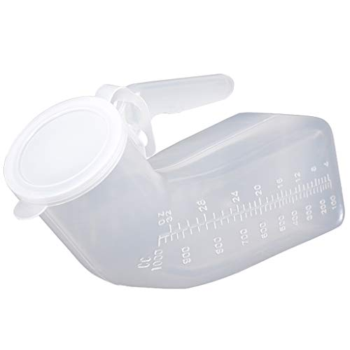 YYDE Herren Urinal 1000ml Dicker Kunststoff Männer Potty Flasche mit Schraubverschluss-Anti-Überlauf Pissoir-Male Tragbare Urinal-Reisen Urinsammelbehälter