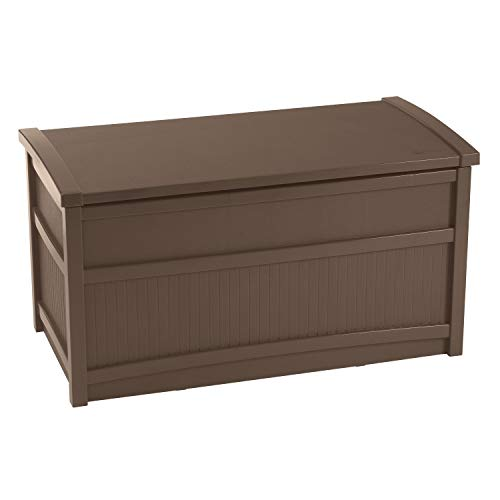 Suncast 50 Gallon Resin Outdoor Patio Storage Box, Brown