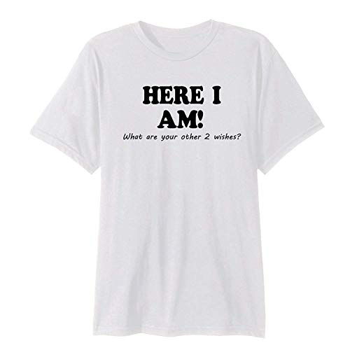 Here I Am Not All Who Wander Lost Geocaching - Camiseta de cuello redondo para hombre Blanco blanco M