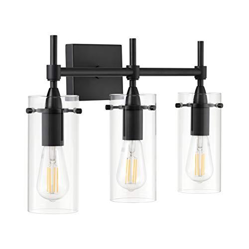 Effimero Black Bathroom Vanity 3 Light Fixture - Modern Over Mirror Lighting with Clear Glass Shades
