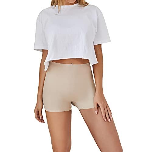SHARICCA Damen Shorts Radlerhose Unterhose Hotpants Kurze Hose Hohe Taille Boxershorts aus Viskose (Beige, M)